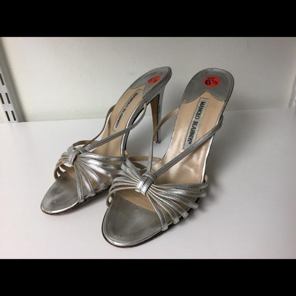 Manolo Blahnik Shoes - Manolo Blahnik silver slipper mules size 37.5